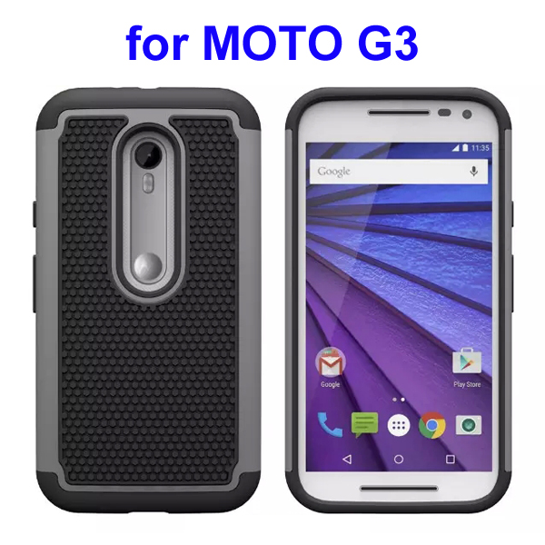 Football Pattern PC + Silicone + TPU Hybrid Protective Rugged Case for Motorola Moto G3 (Grey)