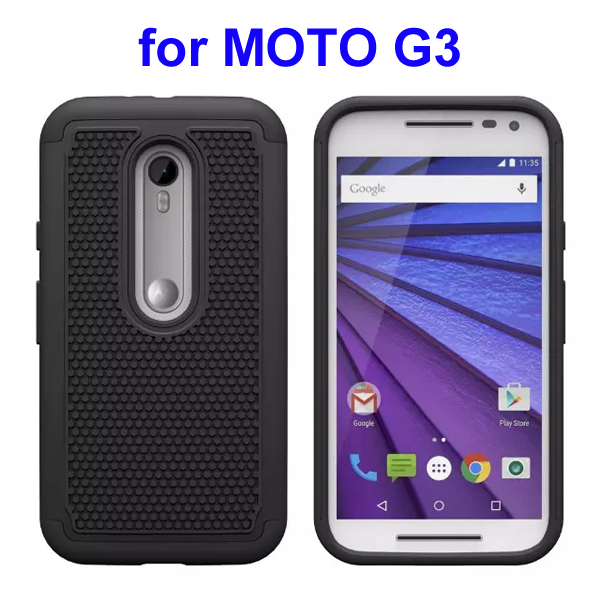 Football Pattern PC + Silicone + TPU Hybrid Protective Rugged Case for Motorola Moto G3 (Black)