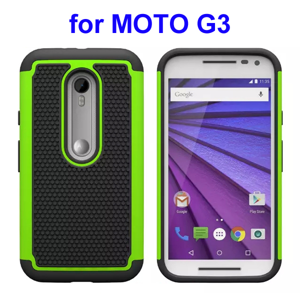 Football Pattern PC + Silicone + TPU Hybrid Protective Rugged Case for Motorola Moto G3 (Green)