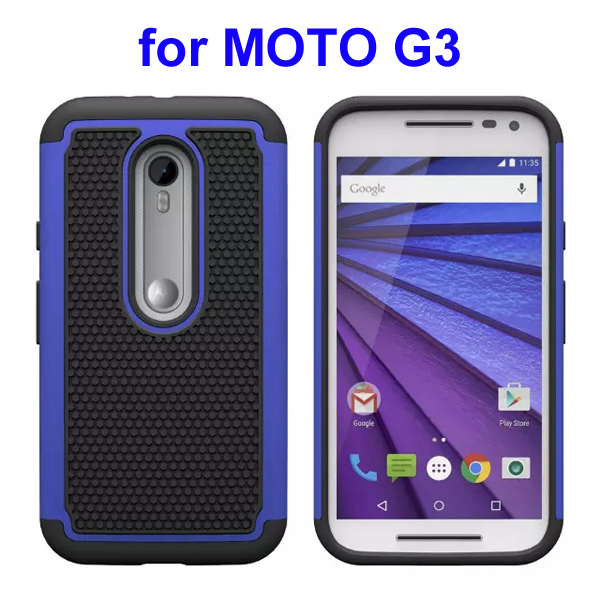 Football Pattern PC + Silicone + TPU Hybrid Protective Rugged Case for Motorola Moto G3 (Blue)