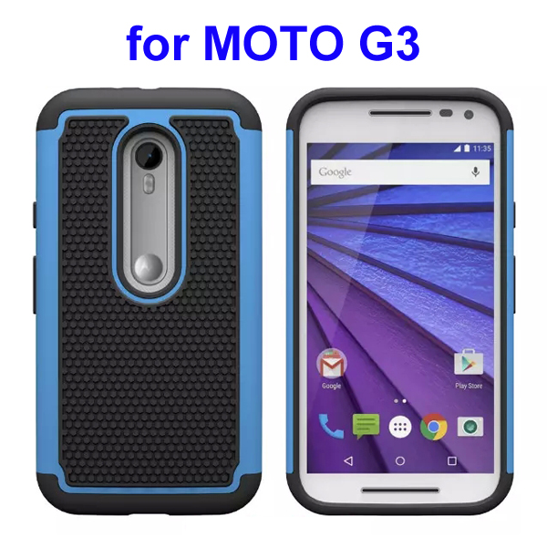 Football Pattern PC + Silicone + TPU Hybrid Protective Rugged Case for Motorola Moto G3 (Light Blue)