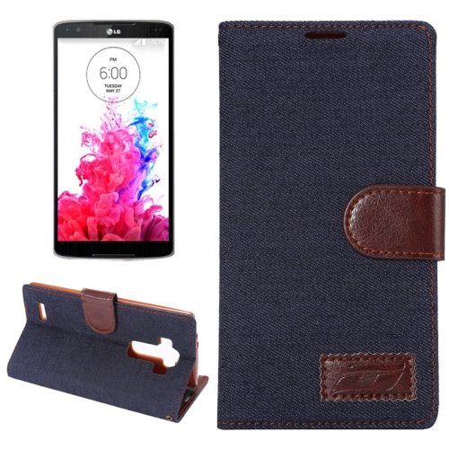 Denim texture Flip Magnetic Wallet Leather Case Cover for LG G4 with Holder (Black)