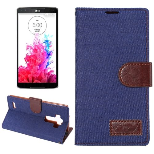 Denim texture Flip Magnetic Wallet Leather Case Cover for LG G4 with Holder (Dark Blue)