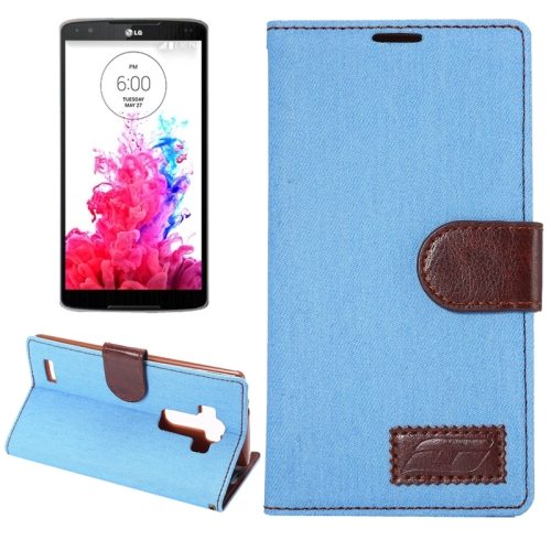 Denim texture Flip Magnetic Wallet Leather Case Cover for LG G4 with Holder (Blue)