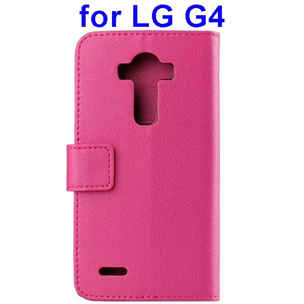 Litchi Texture PU Leather Flip Wallet TPU stand Case for LG G4 with Card Slots (Hotpink)