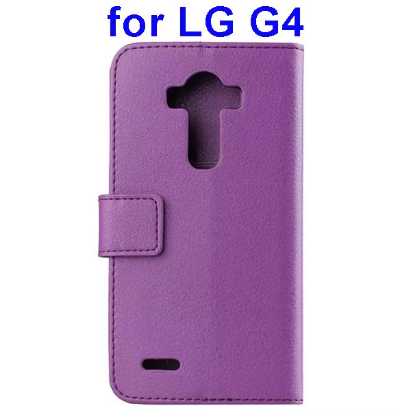 Litchi Texture PU Leather Flip Wallet TPU stand Case for LG G4 with Card Slots (Purple)