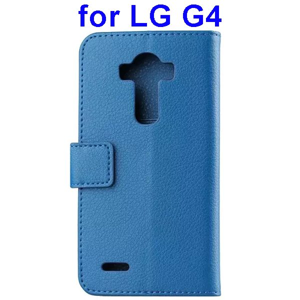 Litchi Texture PU Leather Flip Wallet TPU stand Case for LG G4 with Card Slots (Blue)