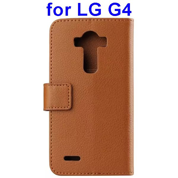 Litchi Texture PU Leather Flip Wallet TPU stand Case for LG G4 with Card Slots (Brown)