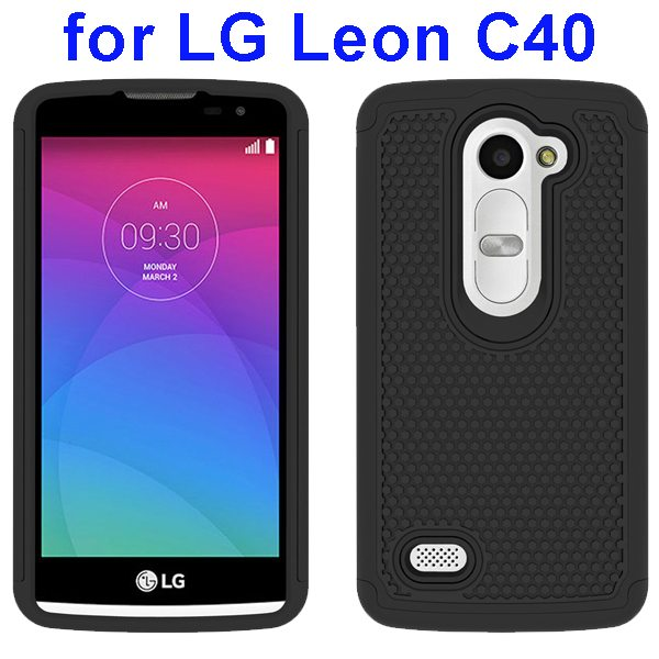 Football Texture Rugged Silicone and PC Protective Hybrid Case for LG Leon C40(Black)