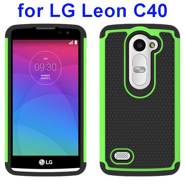 Football Texture Rugged Silicone and PC Protective Hybrid Case for LG Leon C40(Green)