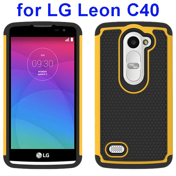 Football Texture Rugged Silicone and PC Protective Hybrid Case for LG Leon C40(Yellow)