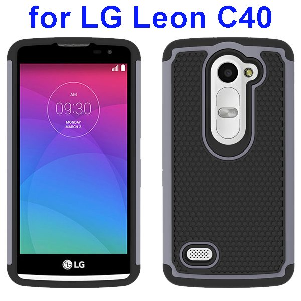 Football Texture Rugged Silicone and PC Protective Hybrid Case for LG Leon C40(Gray)