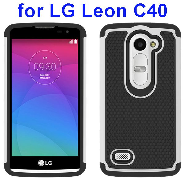 Football Texture Rugged Silicone and PC Protective Hybrid Case for LG Leon C40(White)