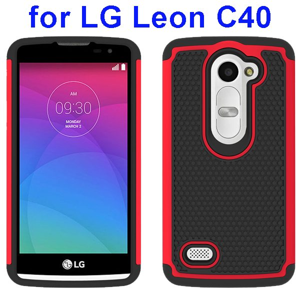 Football Texture Rugged Silicone and PC Protective Hybrid Case for LG Leon C40(Red)