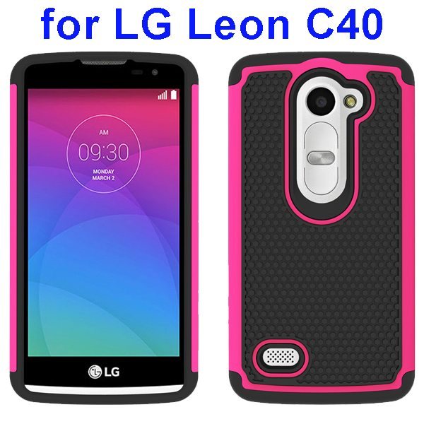 Football Texture Rugged Silicone and PC Protective Hybrid Case for LG Leon C40(Rose)