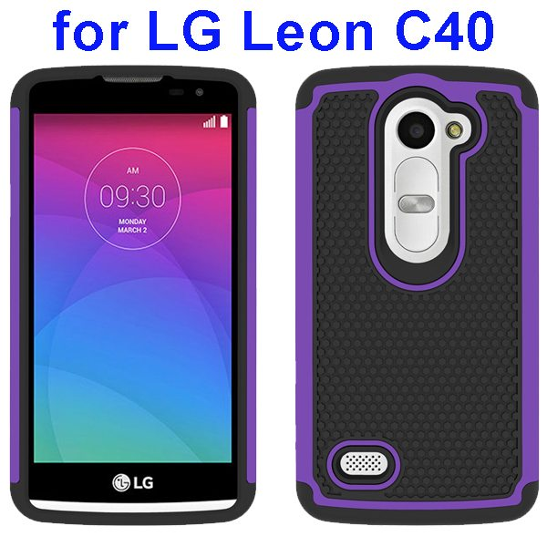 Football Texture Rugged Silicone and PC Protective Hybrid Case for LG Leon C40(Purple)