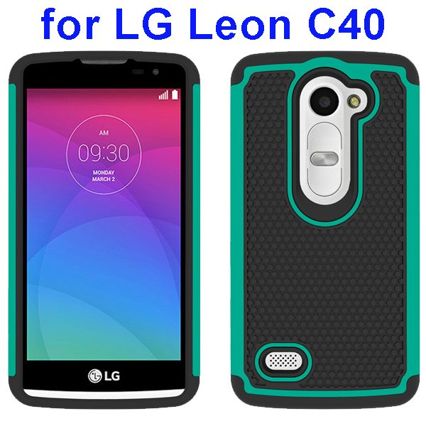 Football Texture Rugged Silicone and PC Protective Hybrid Case for LG Leon C40(Cyan)