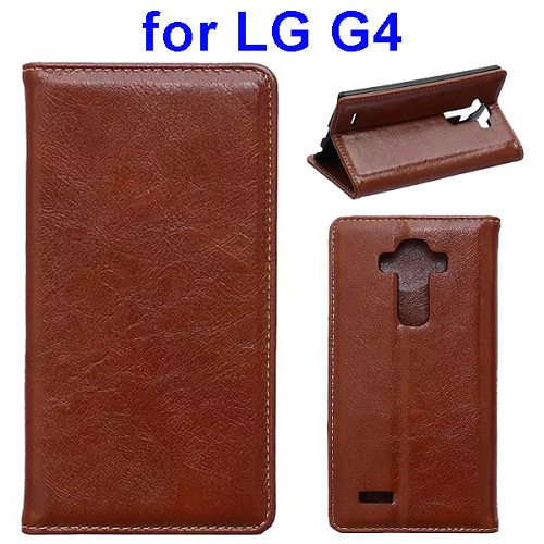 Waxing Crazy Horse Texture Leather Flip Case for LG G4 with Card Slots & Stand (Brown)