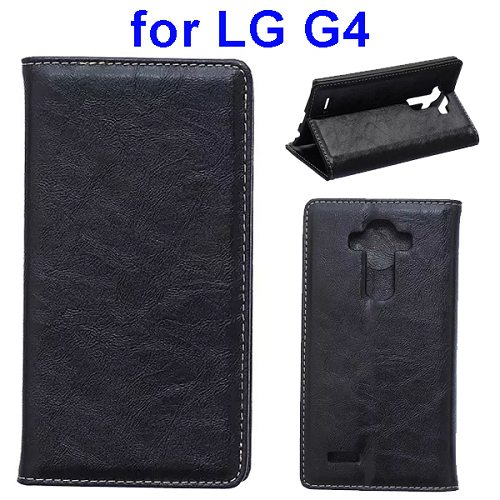 Waxing Crazy Horse Texture Leather Flip Case for LG G4 with Card Slots & Stand (Black)
