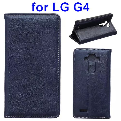Waxing Crazy Horse Texture Leather Flip Case for LG G4 with Card Slots & Stand (Blue)