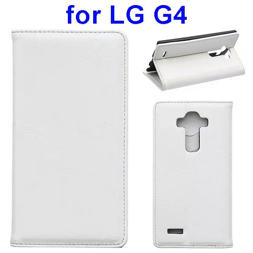 Waxing Crazy Horse Texture Leather Flip Case for LG G4 with Card Slots & Stand (White)