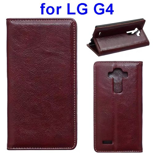 Waxing Crazy Horse Texture Leather Flip Case for LG G4 with Card Slots & Stand (Coffee)