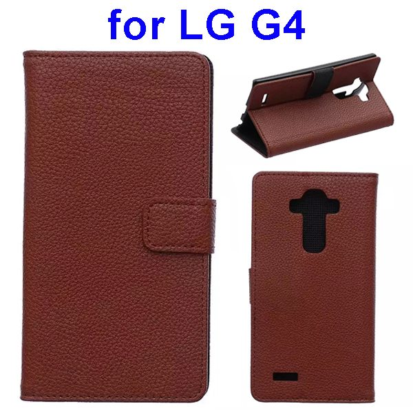 New Arrival Litchi Texture Flip Stand PU Leather Wallet Case Cover for LG G4 (Brown)