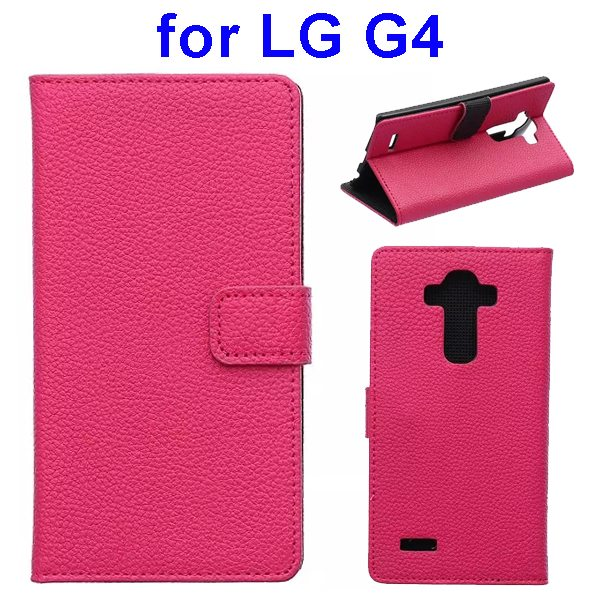 New Arrival Litchi Texture Flip Stand PU Leather Wallet Case Cover for LG G4 (Rose)