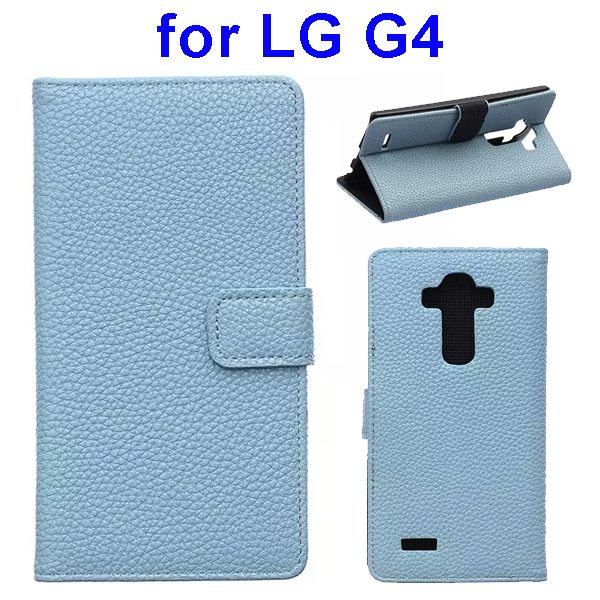 New Arrival Litchi Texture Flip Stand PU Leather Wallet Case Cover for LG G4 (Blue)
