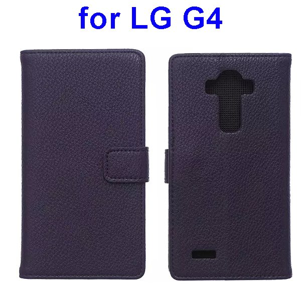 New Arrival Litchi Texture Flip Stand PU Leather Wallet Case Cover for LG G4 (Dark Purple)