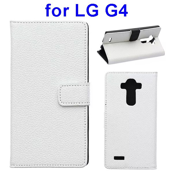 New Arrival Litchi Texture Flip Stand PU Leather Wallet Case Cover for LG G4 (White)