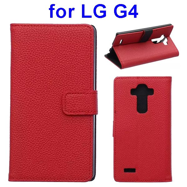 New Arrival Litchi Texture Flip Stand PU Leather Wallet Case Cover for LG G4 (Red)
