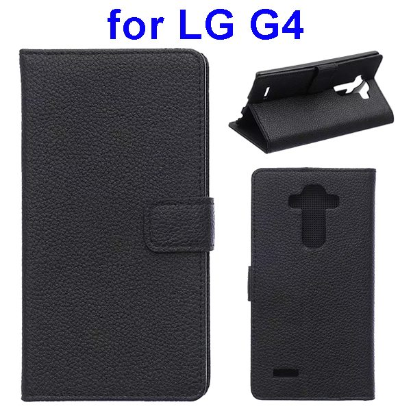 New Arrival Litchi Texture Flip Stand PU Leather Wallet Case Cover for LG G4 (Black)