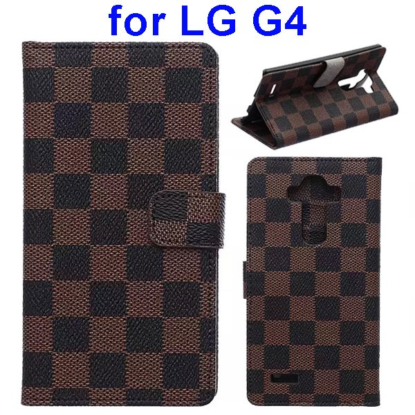 Wholesale Price Grip Pattern Flip Stand PU Leather Wallet Case Cover for LG G4 (Brown)