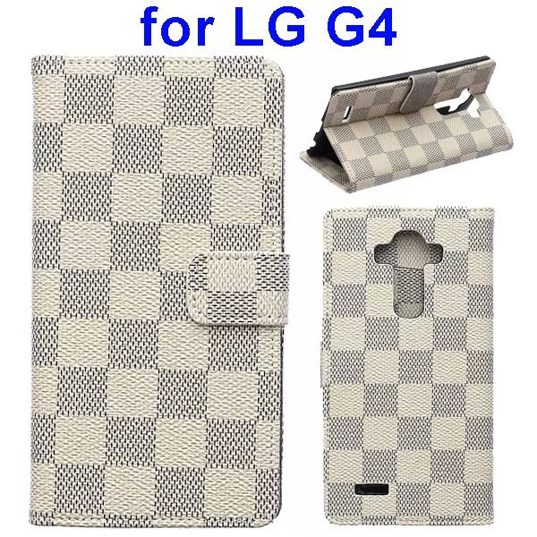 Wholesale Price Grip Pattern Flip Stand PU Leather Wallet Case Cover for LG G4 (White)