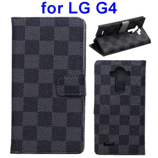 Wholesale Price Grip Pattern Flip Stand PU Leather Wallet Case Cover for LG G4 (Black)