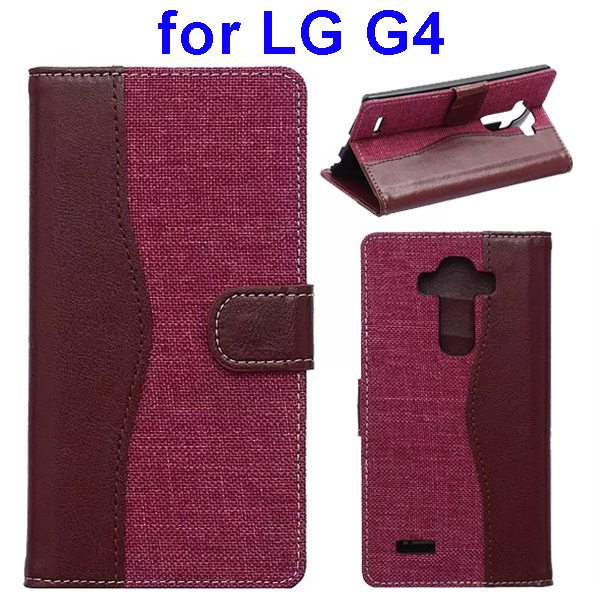 Denim Texture Mix Color Flip Magnetic Wallet Leather Case for LG G4 with Stand (Brown+Rose)