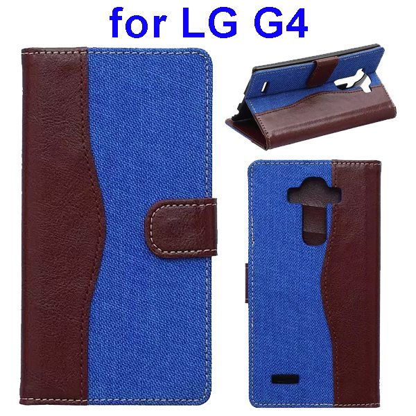 Denim Texture Mix Color Flip Magnetic Wallet Leather Case for LG G4 with Stand (Brown+Blue)