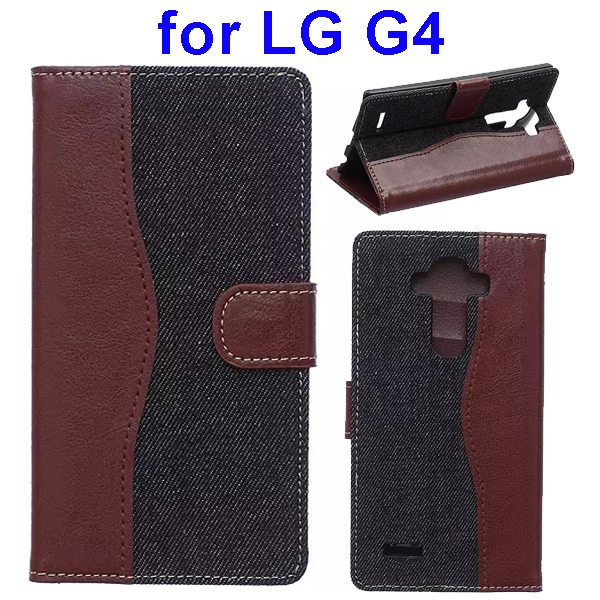 Denim Texture Mix Color Flip Magnetic Wallet Leather Case for LG G4 with Stand (Brown+Black)