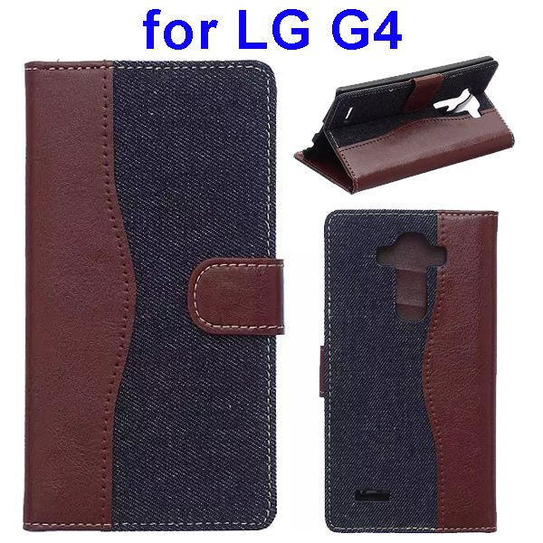 Denim Texture Mix Color Flip Magnetic Wallet Leather Case for LG G4 with Stand (Brown+Dark Blue)