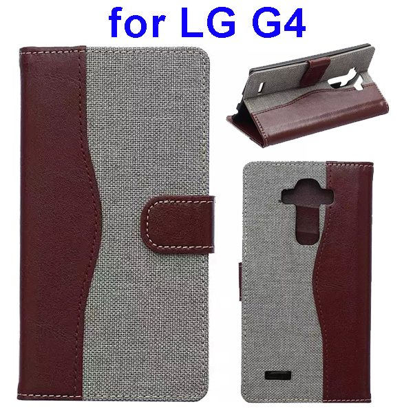 Denim Texture Mix Color Flip Magnetic Wallet Leather Case for LG G4 with Stand (Brown+White)