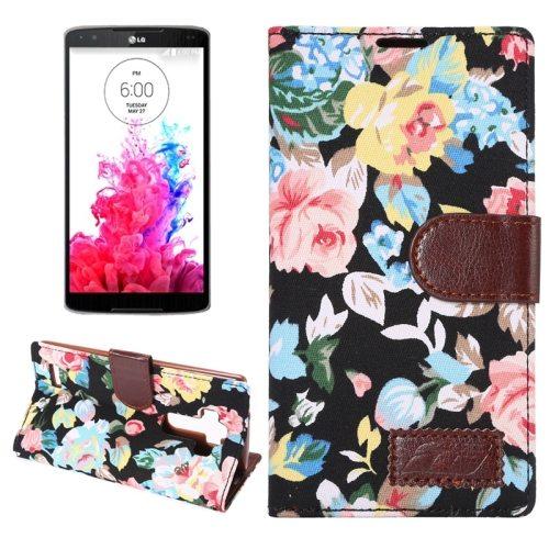 Flower Pattern Flip Wallet Leather Mobile Phone Case Cover for LG G4 (Black)