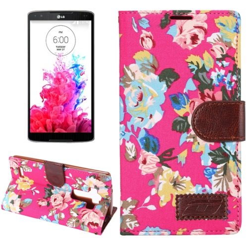 Flower Pattern Flip Wallet Leather Mobile Phone Case Cover for LG G4 (Red)