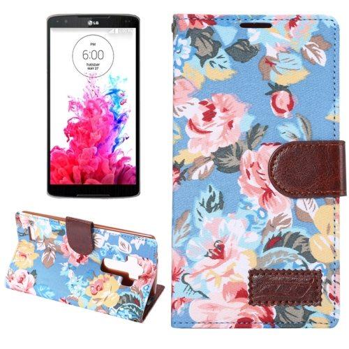 Flower Pattern Flip Wallet Leather Mobile Phone Case Cover for LG G4 (Blue)