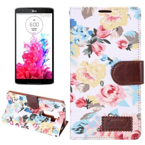 Flower Pattern Flip Wallet Leather Mobile Phone Case Cover for LG G4 (White)