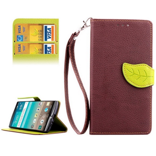 Leaf Magnetic Snap Litchi Texture Horizontal Flip Leather Case for LG G4 (Brown)