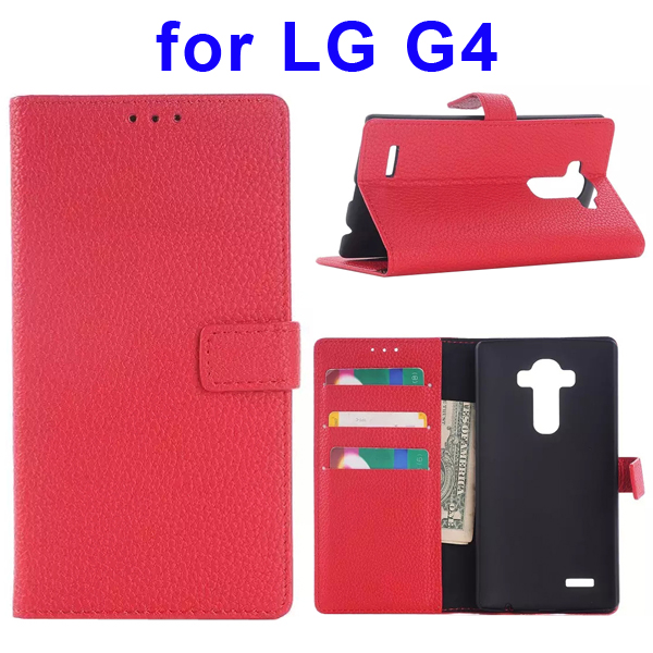 Litchi Texture Flip Leather Wallet Case Cover for LG G4 with Card Slots & Stand (Red)