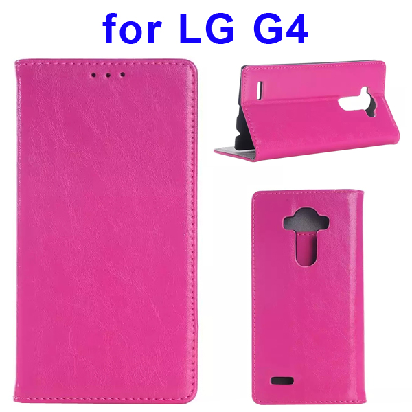 New Arrival Crazy Horse Texture Flip Genuine Leather Case for LG G4 (Rose)