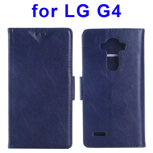 Creative Design Wallet Style Flip Leather Case Cover for LG G4 (Dark Blue)