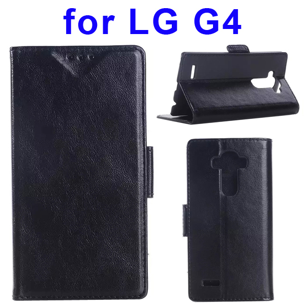 Creative Design Wallet Style Flip Leather Case Cover for LG G4 (Black)